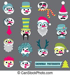 sneeuwpop, set, mustache, bril, lippen, -, maskers, hoedjes, vector, photobooth, feestje