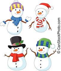 sneeuwpop, spotprent, verzameling, vrolijke