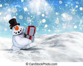 sneeuwpop, stapel, kadootjes, verdragend, kerstmis, 3d