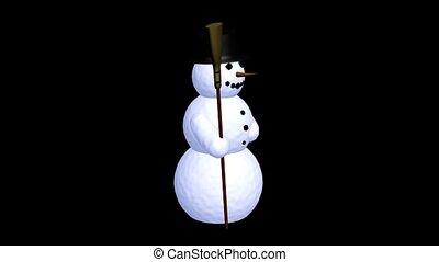 sneeuwpop, vasthouden, een, bezem
