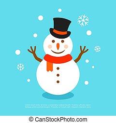 sneeuwpop, vector, hoedje, begroetende kaart