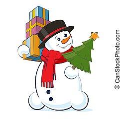 sneeuwpop, vervelend, vector, achtergrond, bovenzijde, vrijstaand, illustratie, xmas geschenken, boom., stapel, holdingshanden, witte hoed, kerstmis, sjaal