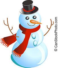 sneeuwpop, vierende kerstmis, vrolijke