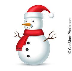sneeuwpop, vrijstaand, illustratie, achtergrond., vector, sjaal, bubo, hoedje, wit rood