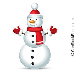 sneeuwpop, vrijstaand, kerstmis, bubo, rode achtergrond, witte hoed, mittens, sjaal