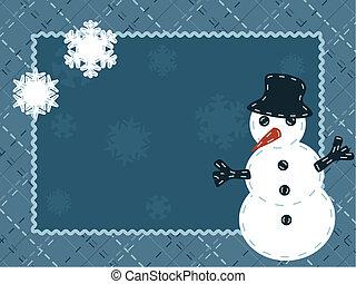 sneeuwpop, winter, kaart, gewatteerd