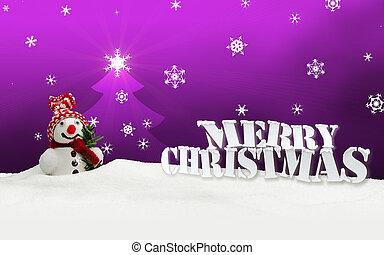 sneeuwpop, zalige kerst, roze