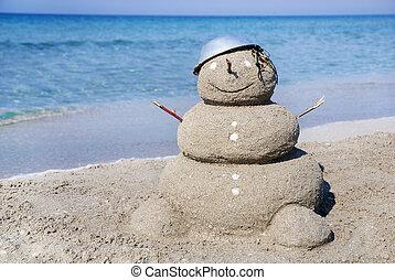 sneeuwpop, zijn, concept, sand., gebruikt, gemaakt, groenteblik, jaar, kaarten, nieuw, vakantie, kerstmis, uit