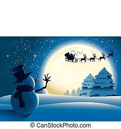 sneeuwpop, zwaaiende , eenzaam, kerstman