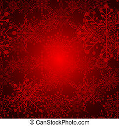 sneeuwvlok, abstract, kerstmis, achtergrond, rood