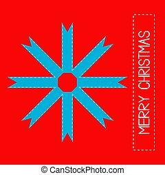 sneeuwvlok, gemaakt, kerstmis, linten, card., vrolijk