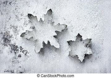 sneeuwvlok, koekje, snijders, op, een, gebepoedeerd, bakblad