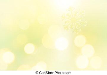 sneeuwvlok, op, schitteren, gele achtergrond