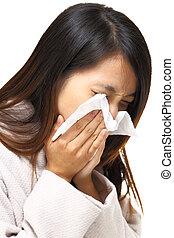 sneeze asian woman
