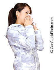 sneeze asian young girl