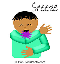 sneeze catcher elbow poster illustration on solid background