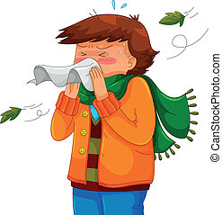 sneeze - person blowing his nose in a chilly weather
