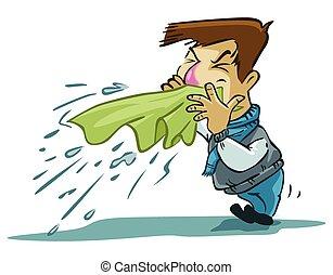 sneezes man