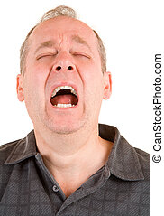 Sneezing - A middle aged man is sneezing loudly.