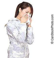 sneezing asian young woman