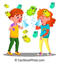 Sneezing Boy And Girl Surrounded By Flying Bacteria Vector. Isolated Cartoon Illustration