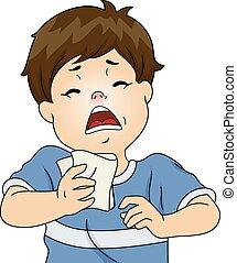 Sneezing Boy - Illustration Featuring a Boy Having a...