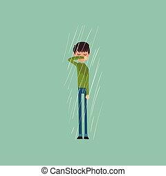 Sneezing boy freezing over autumn rain vector Illustration,...