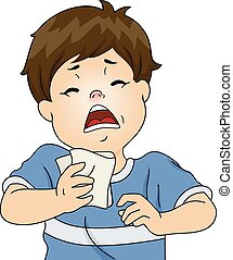 Sneezing Boy - Illustration Featuring a Boy Having a...