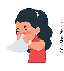 Sneezing girl. Kid blows nose into handkerchief. Respiratory illness symptom, character coughing and catching flu. Medicines for common cold logo template. Vector healthcare illustration