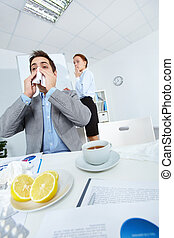 Sneezing in office