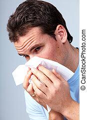 Sneezing man having cold.