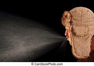 sneezing, man