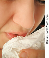 sneezing - Person with a cold