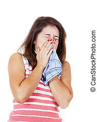 sneezing sick girl - sneezing sick girl with handkerchief....