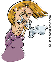 Sneezing Woman - A cartoon woman sneezes into a tissue.