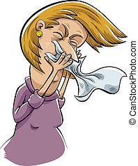 Sneezing Woman - A cartoon woman sneezes into a tissue.