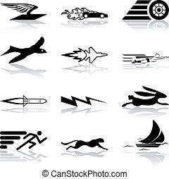 snel, efficiënt, set, pictogram, conceptueel