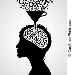 snel, leren, silhouette