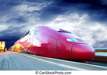snel, motie, trein, buiten, verdoezelen