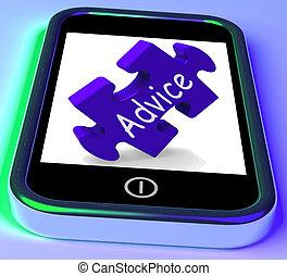 snel, raad, smartphone, het tonen, leiding