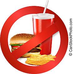snel voedsel, gevaar, label.