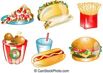 snel voedsel, iconen, of, symbolen