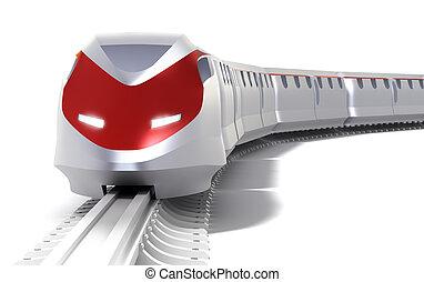 snelheid, concept., vrijstaand, hoog, trein