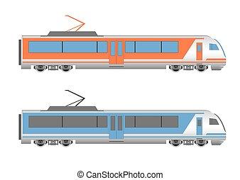 snelheid, hoog, trein