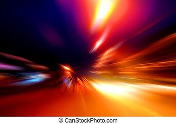 snelheid, motie, op, nacht, straat