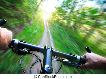 snelheid, op, de fiets van de berg