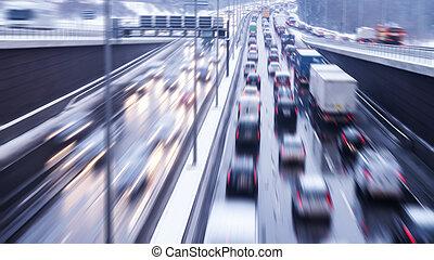 snelheid, op, snelweg