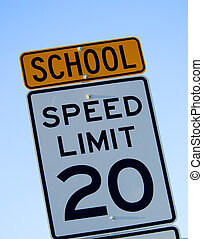 snelheid, school, limiet, meldingsbord