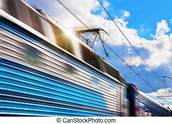 snelheid, trein, met, beweging onduidelijke plek