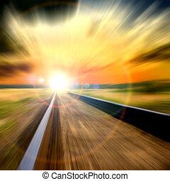 snelheid, vaag, spoorweg, in, de, ondergaande zon